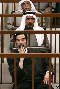 Saddam Hussein and his co-defendants in court on 1 March 2006