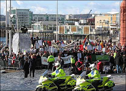 Crowds gathered outside the Senedd with many taking the opportunity to protest about various causes