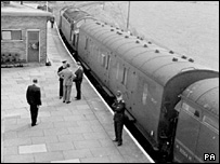 Carriages from the mail train targeted in the Great Train Robbery