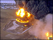 Aerial view of Buncefield fuel depot fire