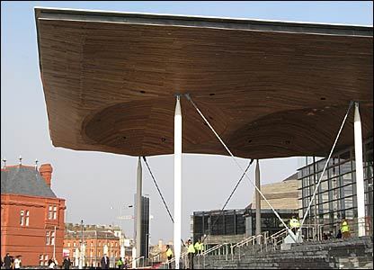 The Senedd is one of several new buildings which now dominate Cardiff Bay skyline