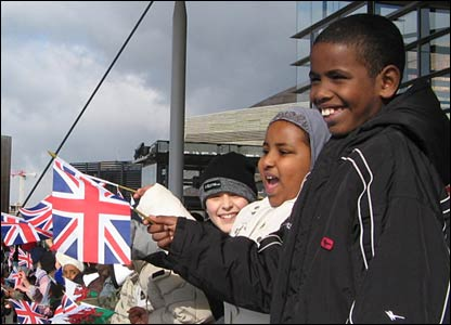 Many of the children carried Union Jacks and the Welsh flag