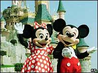 Mickey a Minnie Mouse yn Euro Disney