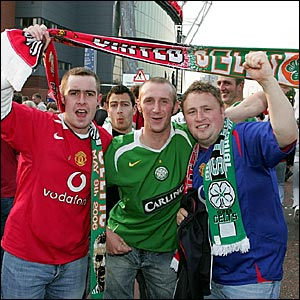 Manchester United and Celtic fans mingle outside Old Trafford