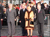 The Queen outside the Senedd building, with Rhodri Morgan, Duke of Edinburgh and Dafydd Elis-Thomas