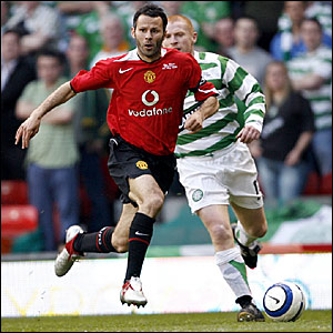 Ryan Giggs leaves Neil Lennon in his wake
