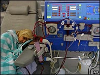 A patient receives dialysis at Gaza's Shifa Hospital