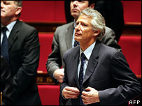 Dominique de Villepin in parliament on 9 May