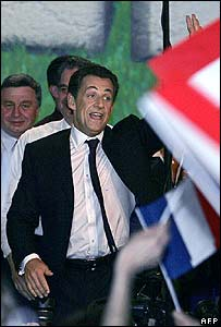 Nicolas Sarkozy greets supporters in Nimes