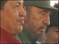 Hugo Ch�vez y Fidel Castro, presidentes de Venezuela y Cuba.