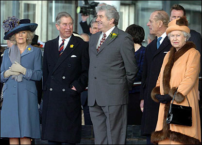 Members of the Royal family and First Minister Rhodri Morgan