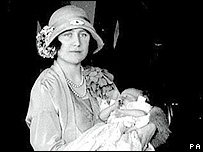 Princess Elizabeth at her christening, with her mother