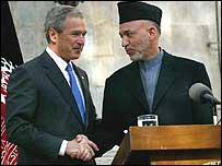 Mr Bush and Mr Karzai in Kabul