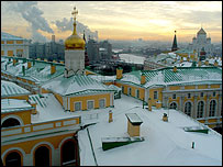 Kremlin rooftops at sunset