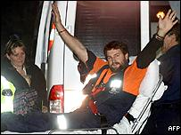 Australian miner Todd Russell shortly after being rescued