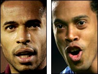 Thierry Henry (left) and Ronaldinho (right)