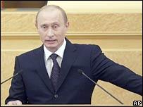 Russian President Vladimir Putin addresses the nation