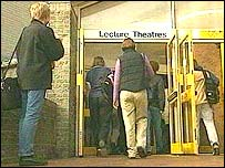 Students entering lecture theatre