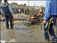 Policeman at the site of the car bomb attack in Jadida