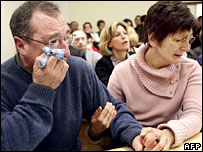 The parents of Alexandre Lagardere at the opening of the trial of Fauviau