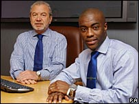 Sir Alan Sugar with Tim Campbell, last year's winner of The Apprentice