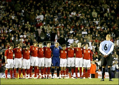 A minute's silence is held at Anfield