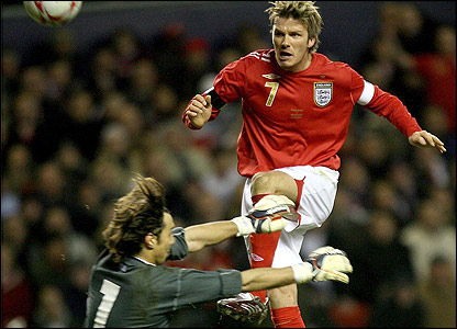 Fabian Carini saves from David Beckham