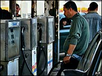 Palestinian at petrol pump