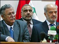 Jalal Talabani (L), Adel Abdel Mahdi and Ibrahim Jaafari