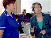 Patricia Hewitt on a hospital visit