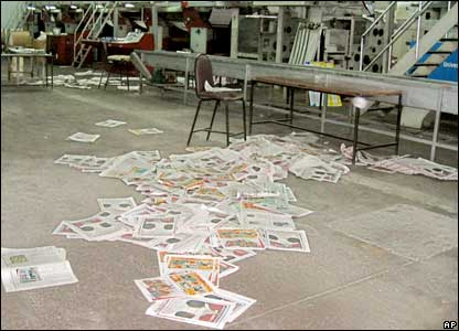 The Standard's printing press after the raid