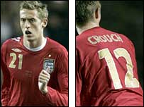 Peter Crouch scored his first goal for England against Uruguay