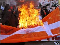 Pakistani burn Danish flag during a rally in Lahore,