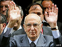 Newly-elected Italian President Giorgio Napolitano waves to the public