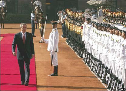 President Bush inspects a guard of honour