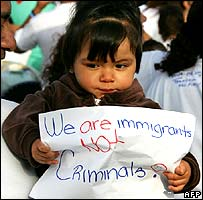 Child at immigration rally