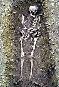 Skeleton found in a Roman cemetery in Fairford, Gloucestershire