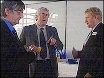 First Minister Rhodri Morgan (centre) with two guests