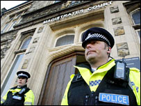 Police officers outside Maidstone Magistrates' Court