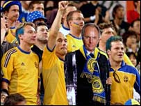 Sweden fans at the 2002 World Cup