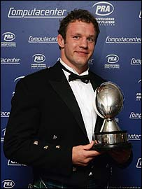 Jason White poses with his PRA player of the year award