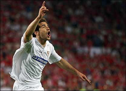 Enzo Maresca celebrates scoring for Sevilla