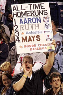 A fan holds up a sign saying Bonds cheated baseball