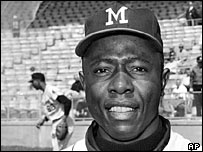 Hank Aaron - who holds the record for the most home runs of all time - in 1965