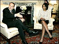EU foreign policy chief Javier Solana (l) and US Secretary of State Condoleezza Rice