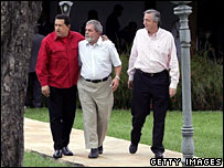 Venezuela's Hugo Chavez, Brazil's Luiz Inacio Lula da Silva and Argentina's Nestor Kirchner at a summit in January