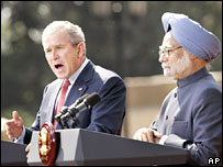 US President George Bush and Indian Prime Minister Manmohan Singh