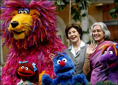 Laura Bush meets the team of the Indian version of Sesame Street