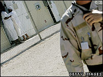 US guard and detainees at Guantanamo Bay