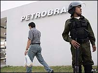 Bolivian guard outside Petrobras' HQ in Santa Cruz de la Sierra